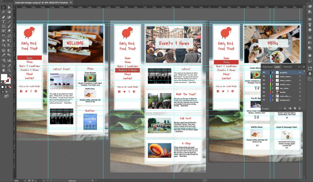 Adobe Illustrator screenshot of high level wireframes