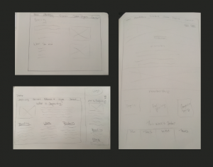 Hand drawn sketches of wireframes