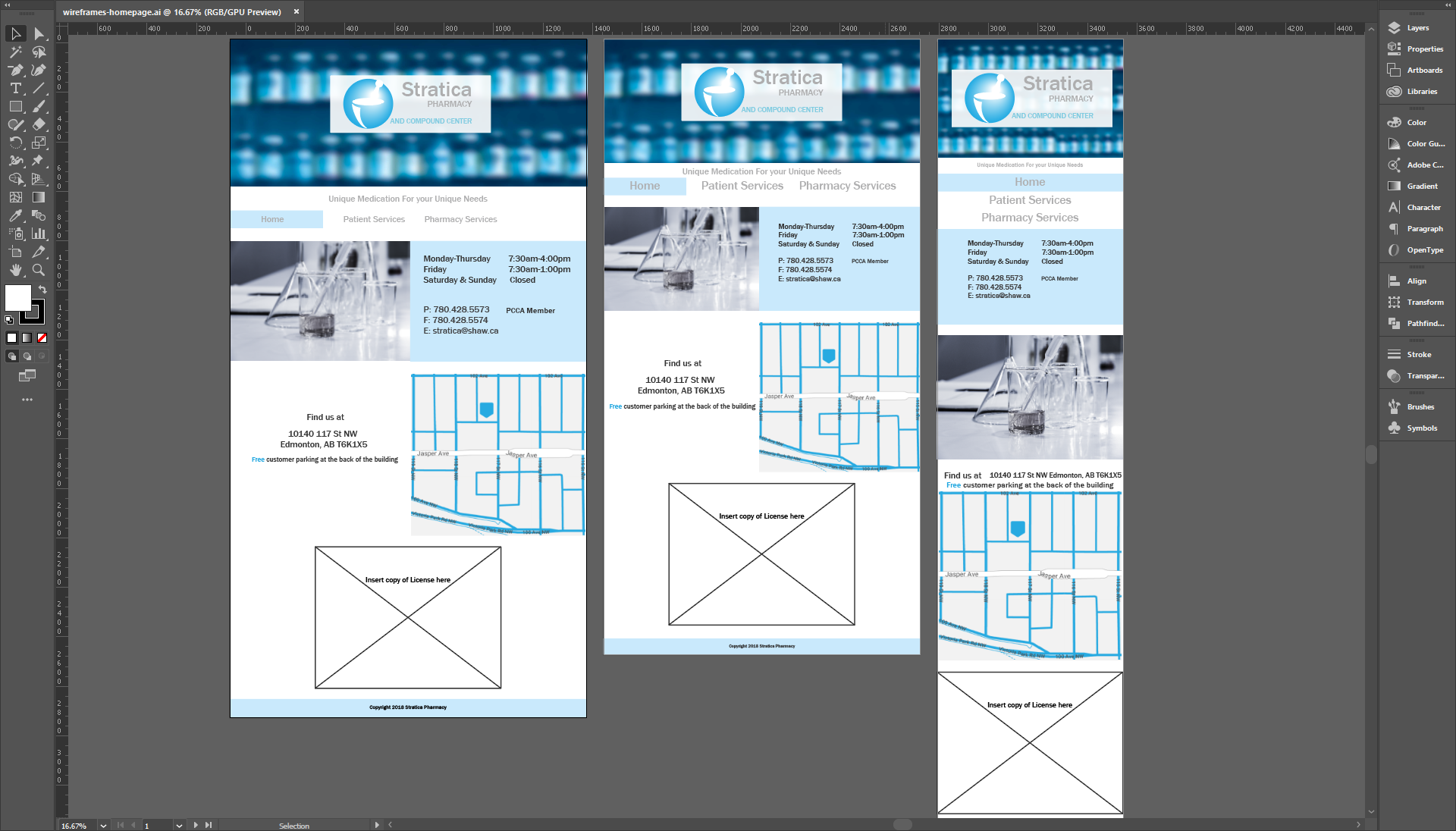 A screenshot of high level wireframes in Adobe Illustrator
