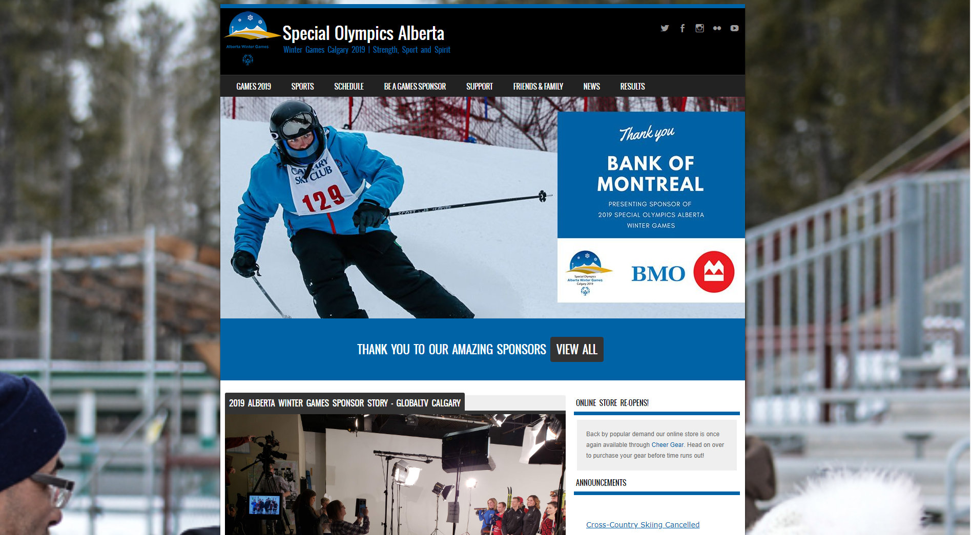 The homepage for Special Olympics Alberta Winter Games 2019