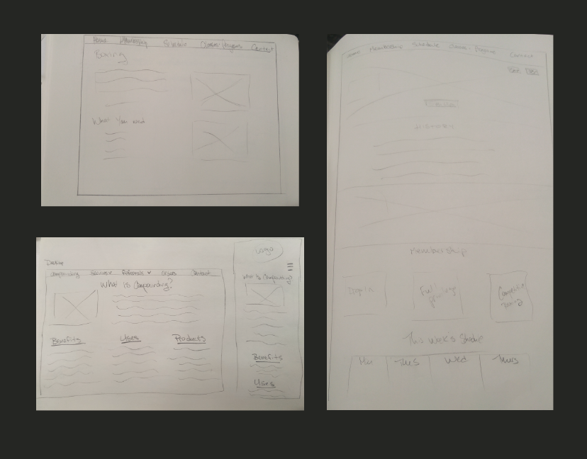 Picture of hand-drawn wireframes